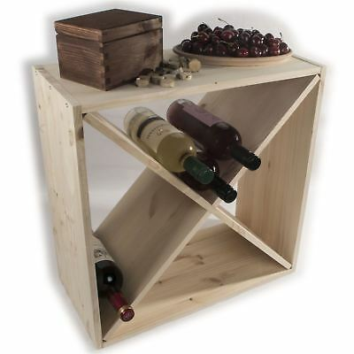 Wooden Wine Rack Storage Holder / 24 Bottle Capacity / Natural Pine To Decorate