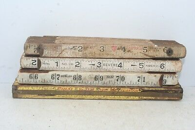 Lot of 4 Vintage 6' Folding Rules, Stanley Dunlap Revere & American