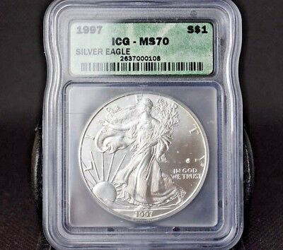 1997 Ms70 American Eagle Gem B/u $1 Silver Dollar~Invest In Silver Today~