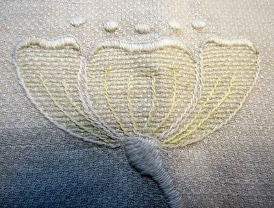 """Vintage Linen, 21"""" by 32"""" with Monogram """"A"""" & Blossoms Hand-embroidered"""