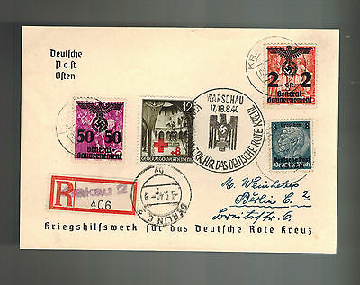 1940 Warsaw Poland to Berlin Germany GG cover War Relief for Red Cross