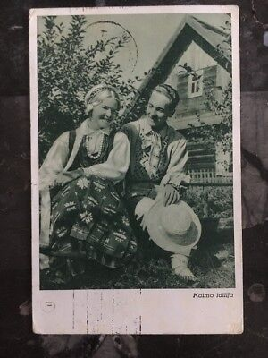 1938 Lithuania Vilniaus Label Tied Picture Postcacover To Buenos Aires Argentina