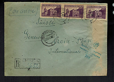 1945 Warsaw Poland Censored Cover to Red Cross Switzerland