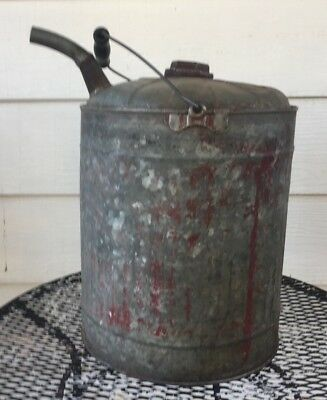 Vintage Galvanized Can Wooden Handle Old Gas & Oil Can Garden Watering Can 5 Gal