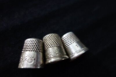 Edwardian Thimbles -3 pc- Sterling,Nickel & Unmarked- Leaves/Flowers Design-SALE