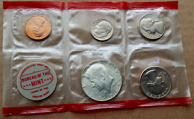 1969 Denver  U.S. Mint Sealed 5 Coin Set with Silver Kennedy Half Dollar
