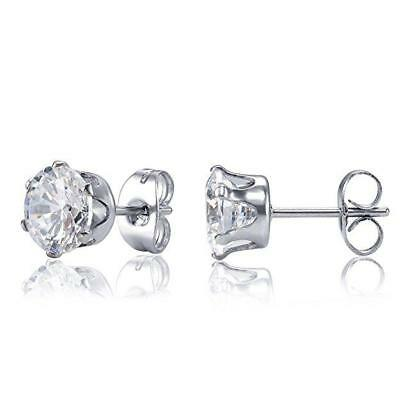 Womens Mens Hypoallergenic 316L Stainless Steel Round Clear CZ Stud Earrings 2PC