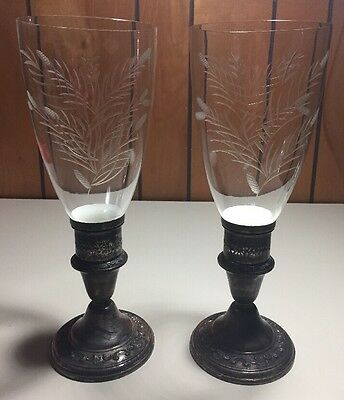 2 Vintage Gorham Strasbourg Sterling Silver Weighted Hurricane Lamp Etched Glass