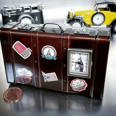 Suitcase Travel Miniature Luggage Collectible Mini Clock