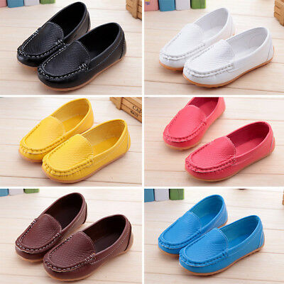 Kid Flats Shoes Boys Girls Casual PU Boat Toddler Slip On Soft Loafers Oxford