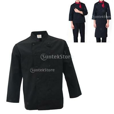 Black Chef Cook Coat Jacket Uniform Clothes XXXL