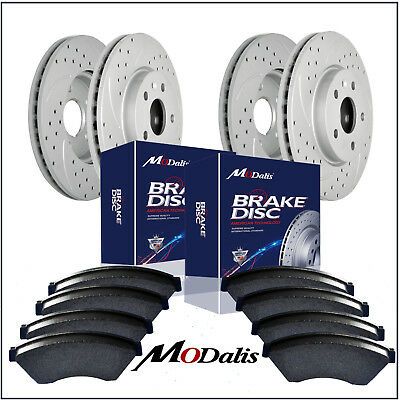 Front+Rear Kit Drilled Slotted Brake Rotors & Ceramic Pads Dodge Charger 53023