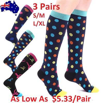 3x 15-30mmHg Medical Compression Socks Support Stockings Travel Flight Socks AU