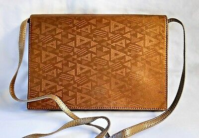 Vintage 1980's Juto Of Melbourne Hand Made Gold Patterned Leather Clutch Bag