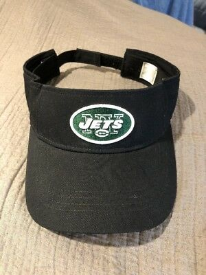 5a7d814aa93 NEW YORK JETS UNISEX Reebok ADULT BLACK ADJUSTABLE SUN VISOR CAP HAT TEAM  LOGO