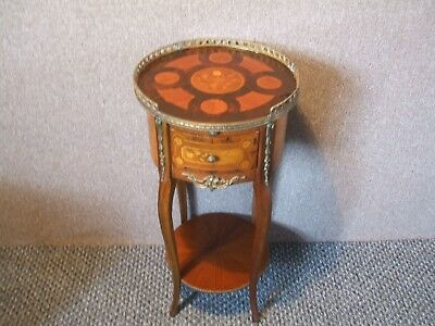 Stunning French Style /mahogany  Inlaid And Gilt Circular Side Table