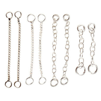 2pcs 925 Sterling Silver Necklace Earring Chain Extenders Chain Tails DIY