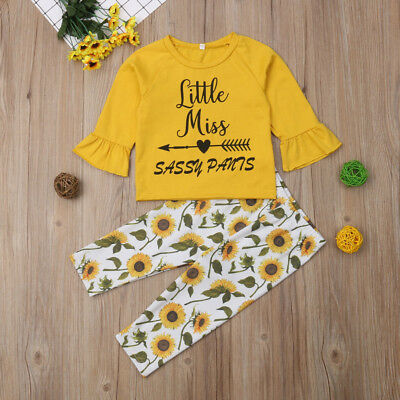 Cute Toddler Kids Baby Girls Floral Top T-shirt Pants Leggings Outfit Clothes US