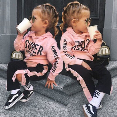 Cute Kids Baby Girl Cotton Hooded Tops Pants Outfits Clothes Autumn Tracksuit US