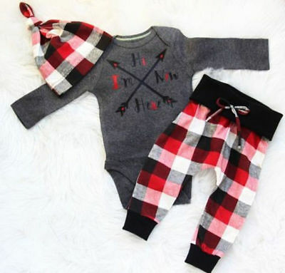 Cute Newborn Baby Boys Top Romper Plaid Pants Leggings Hat Outfits Clothes USA