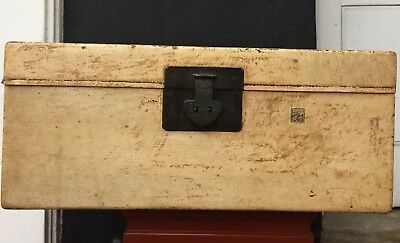 Antique Chinese Leather Bound Travelling Trunk