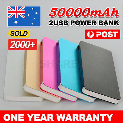 50000mAh External Power Bank Dual USB Portable Battery Charger For Mobile Phone