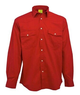 SHIRT Mens Longsleeve Mans Pre-Washed 100% Brushed Cotton Twill Red CA