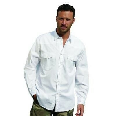 SHIRT Mens Longsleeve Mans Pre-Washed 100% Brushed Cotton Twill White CA