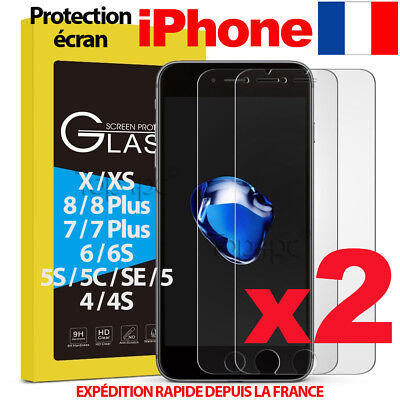 Lot Vitre Protection Verre Trempé Film Écran Iphone 6 7 8 5S Se Plus X Xs Max