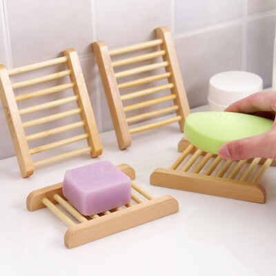 AU Useful Wooden Soap Holder Dish Bathroom Shower Plate Stand Wood Box Healthy