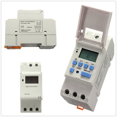 UK New DC12V DC24V 15A Digital LCD Programmable Timer Switch Time Relay Switch