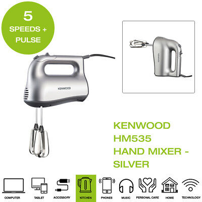 Kenwood HM535 Hand Mixer For all your whisking folding and mixing tasks 280 watts 5 plus pulse Speed settings Beater interlock system for safety and security Simple thumb operated speed control Silver