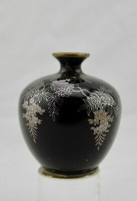 Unsigned Hayashi Meiji Japanese cloisonne silver-wire wisteria miniature vase