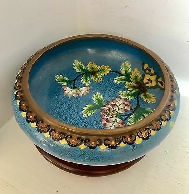 """Beautiful Old Vintage 8"""" Chinese Blue Floral Cloisonne Bowl ~Marked CHINA ~Stand"""