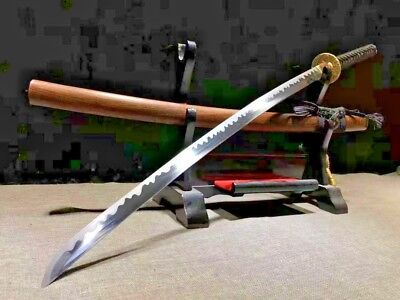 Japanese Samurai Sword 65HRC Sharp T10 Clay Tempered Steel Saber Ray Skin Handle