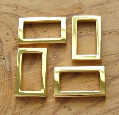 """24K Gold Plated D Rings .75"""" Rectangle Purse Hardware DieCast Dee Set of 2"""