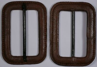 vintage brown sewn leather metal tri glide coat buckle 4.5cm 45mm
