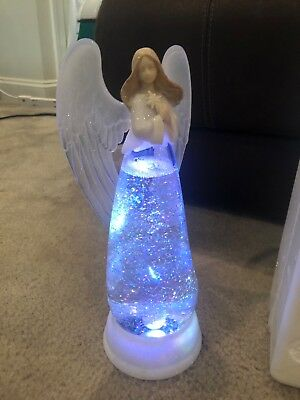 Christmas Angel w/ Frosted Wings Lighted Swirling Glitter W/ Chg Color