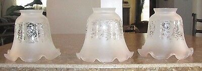 Lot 3 Vintage Antique Ruffled Crimped Frosted Etched Glass LAMP SHADE Globe