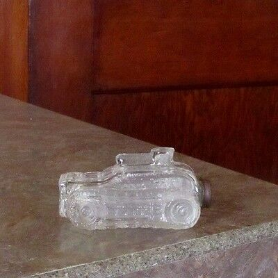 Glass Candy Figural Bottle Container WW2 WW1 Army Tank Original Lid T. H. Stough