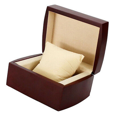Retro Wine Red Single Slots Natural Wood Watch Storage Box Cushion Removable