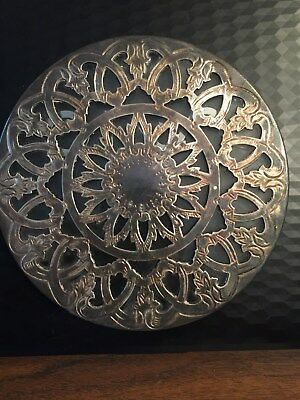 Vintage Leonard Silverplate And Glass Ornate Hotplate Round 6 1/4In