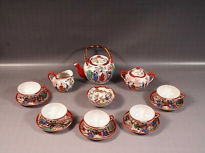 Vintage Japanese Antique Kutani Eggshell Porcelain Tea Set Geisha Enamel