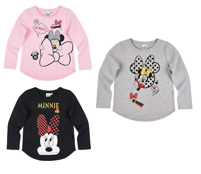 Girls Kids Official Licensed Minnie Mouse Long Sleeve T Tee Shirt Top