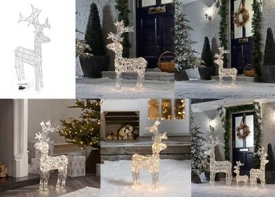 Outdoor Reindeer Christmas Decoration - Light Up White or Warm White Led's