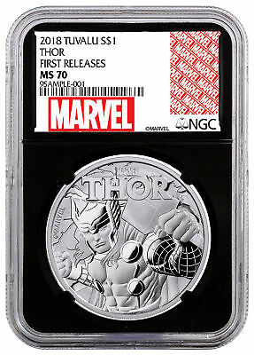 2018 Tuvalu Thor 1 oz Silver Marvel Series $1 NGC MS70 FR Black Core SKU49367