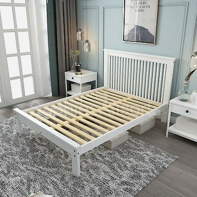 ENNIS White Modern Shaker Style Low Footend Bed Frame - 3ft Single / 4ft6 Double