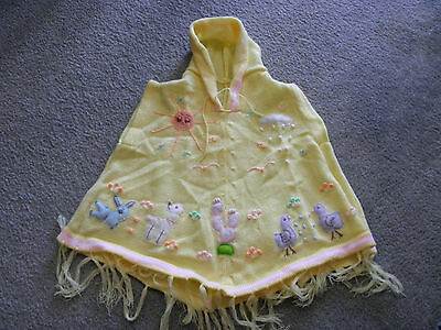 New Made In Peru Arpillera Poncho with Hood Size 4 Soft Spring Yellow #140103