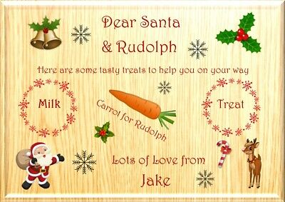 Personalised Christmas Eve Santa treat board A4 Laminated Placemat Place Mat