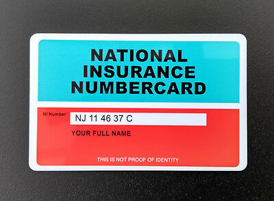 Original Old Style National Insurance NI Number Card Personalised Reproduction